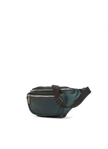 Bagmori Bagi M000003068 Suni Deri Fermuarlı Oval Cepli Kolonlu  Kadın Bel Çantası Yeşil